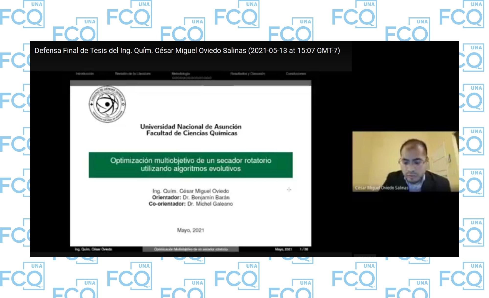 Exitosa defensa de tesis de Maestría en Ingeniería Química con énfasis en Procesos Químicos